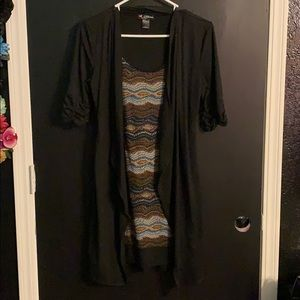 Dress with short sleeved cardigan attached